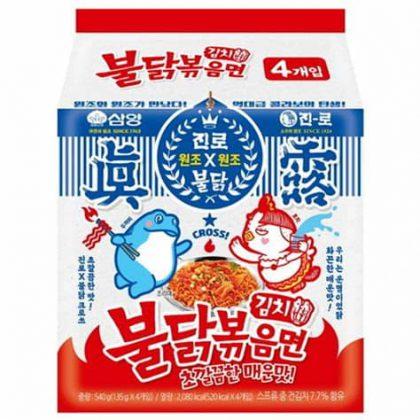 【三養+JINROコラボ】 キムチ味ブルダック火鶏炒め麺*4個